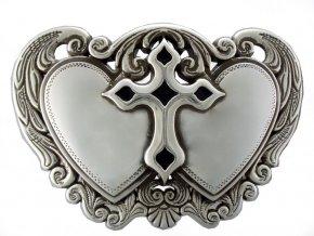Westernová spona Dvojité srdce a kříž